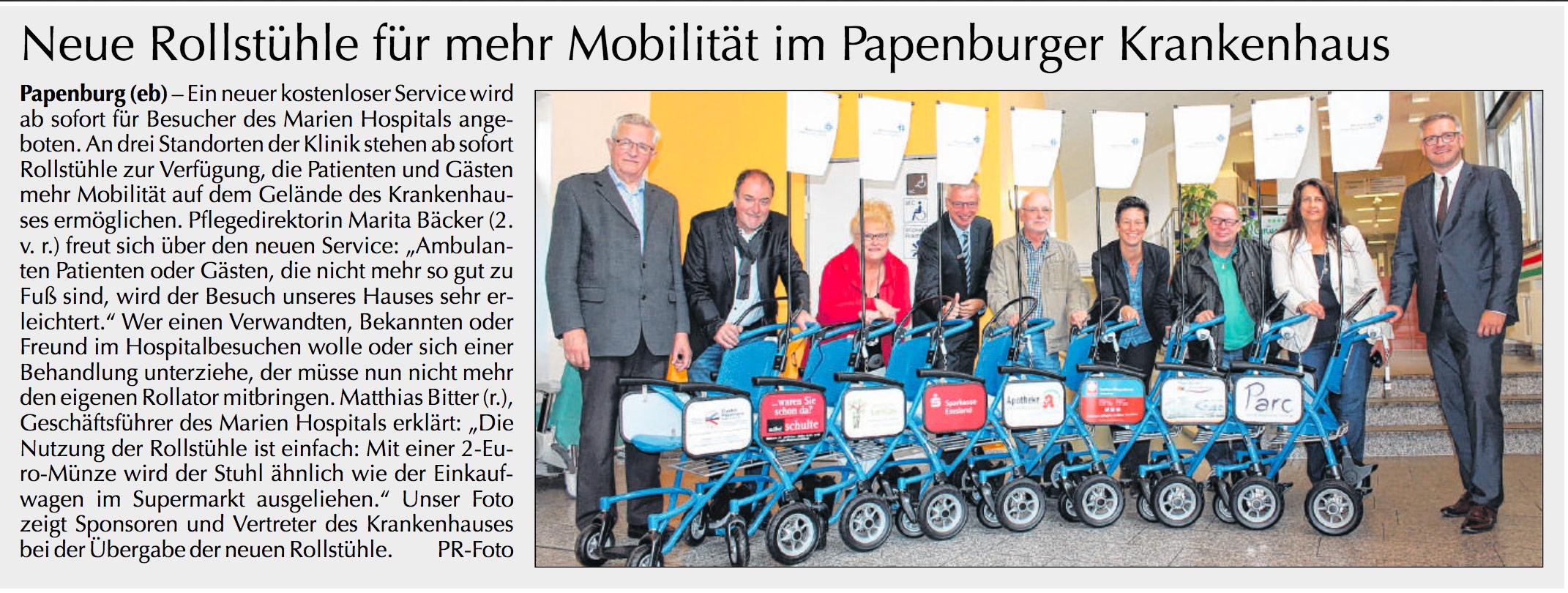 Neue Rollstühle für mehr Mobilität im Papenburger Krankenhaus
